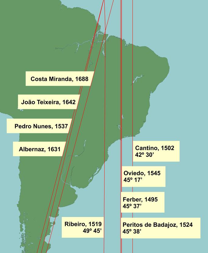 Posição do Meridiano de Tordesilhas segundo diferentes cartógrafos.