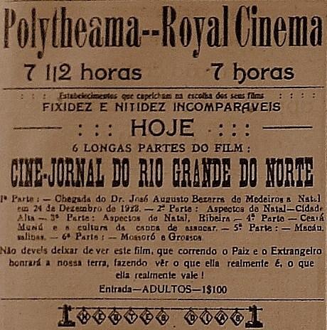 Anúncio do Cinema nos jornais da época.