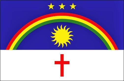 Bandeira da Revolução de 1817 com as três estrelas representando as três capitanias que aderiram ao movimento: Pernambuco, Paraíba e Rio Grande do Norte.