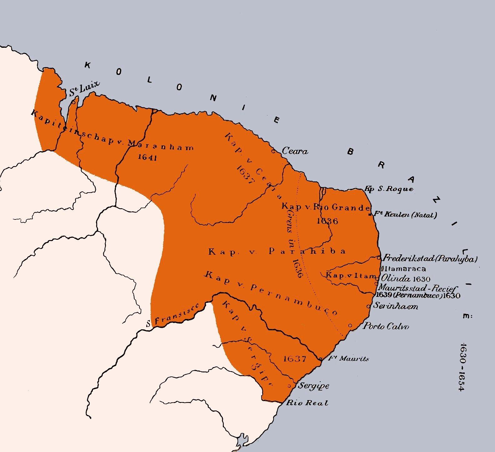 Extensão do território dominado pela Holanda.