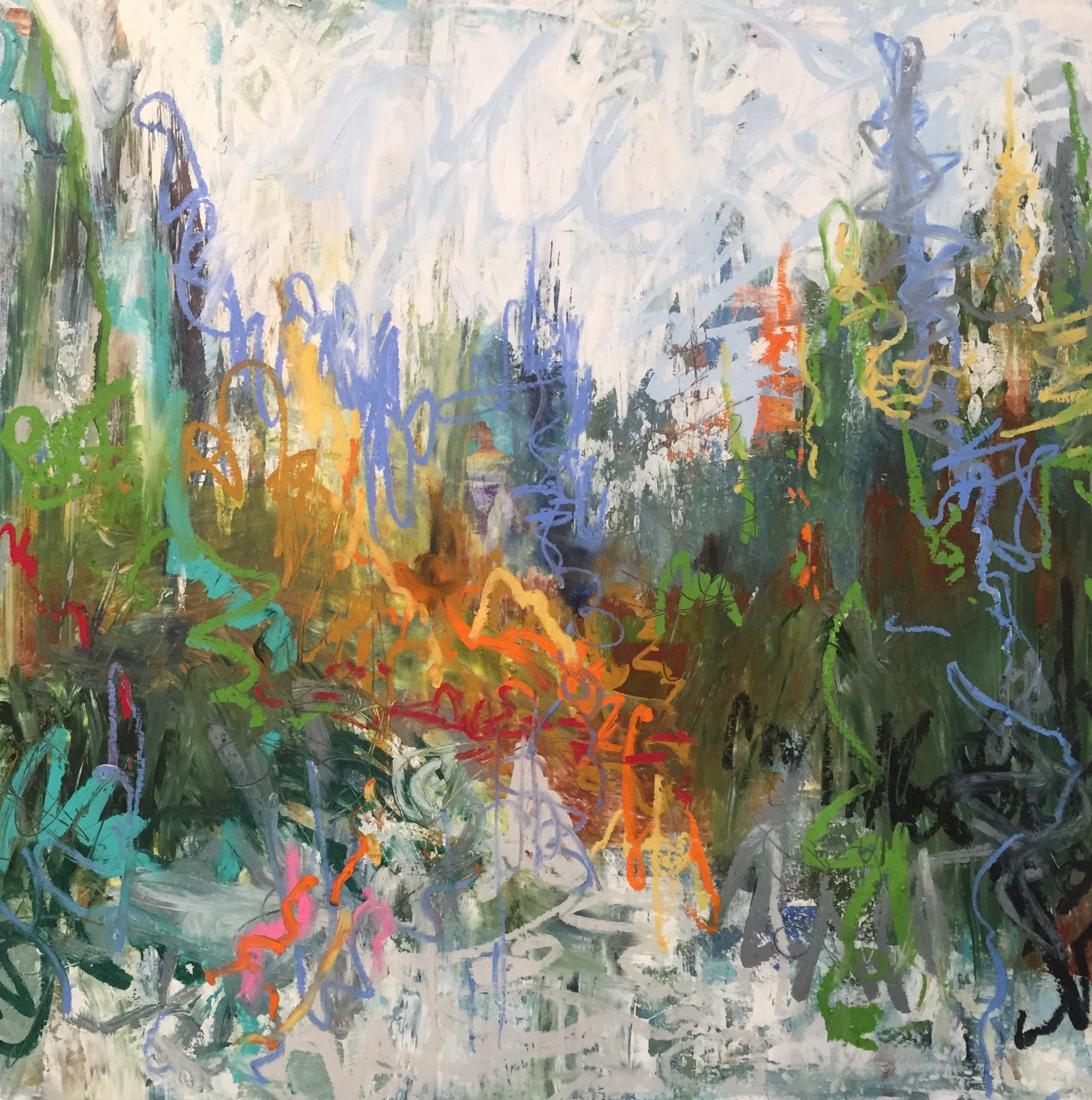 "Weekend Escape #2 , 2018 encaustic/mixed media on wood 30""x30""  $1500"