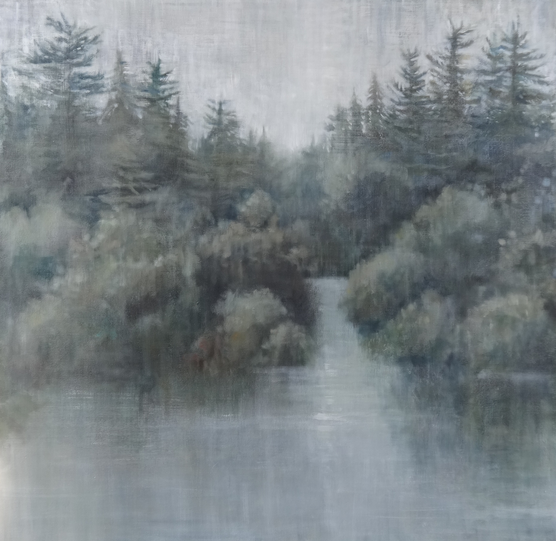 "Stillness and Fog , 2015 oil on canvas 40""x40""  $2900"