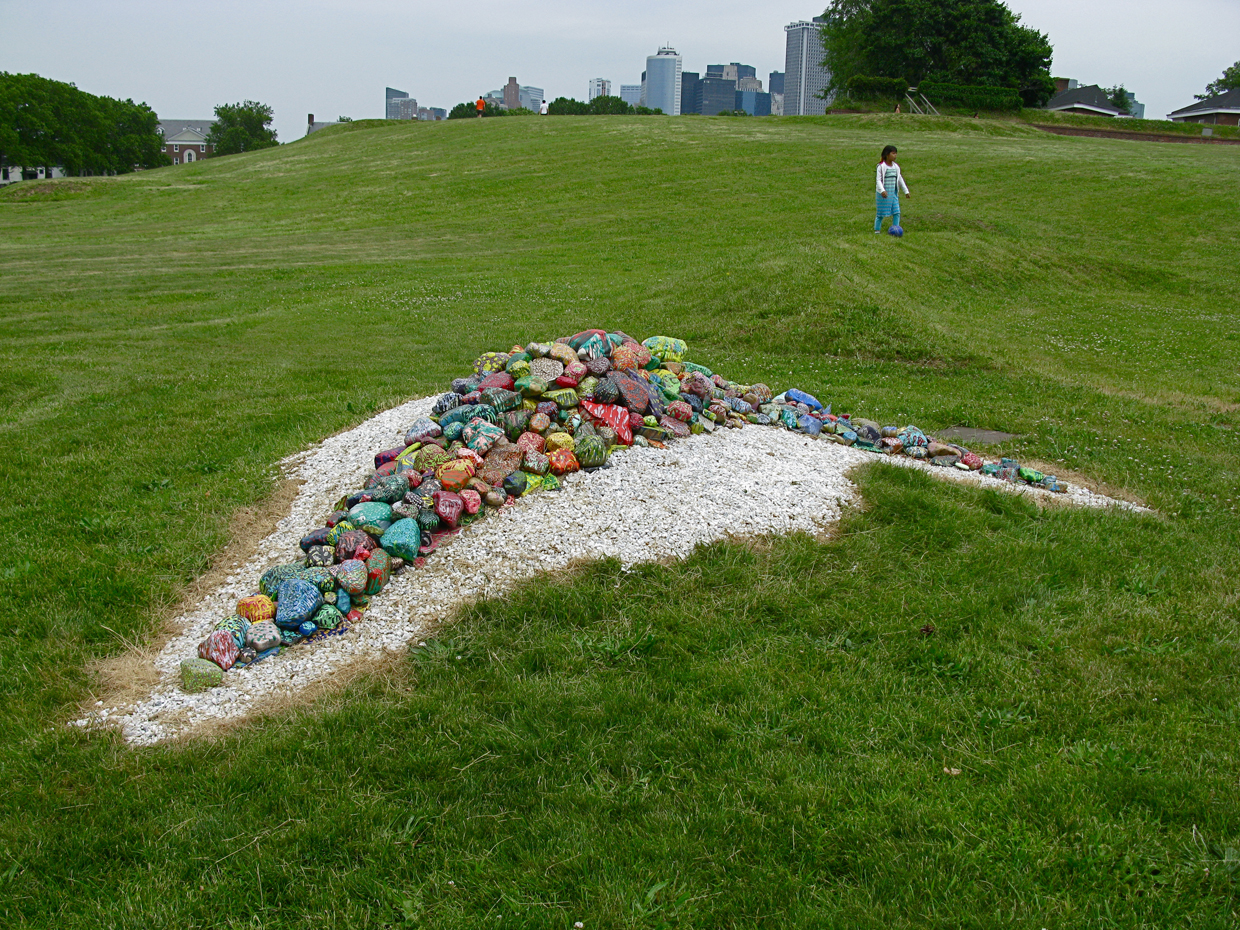 Landscape and Life Form - Site-specific installationGovernor's Island | New York, NY acrylic on stone, marble
