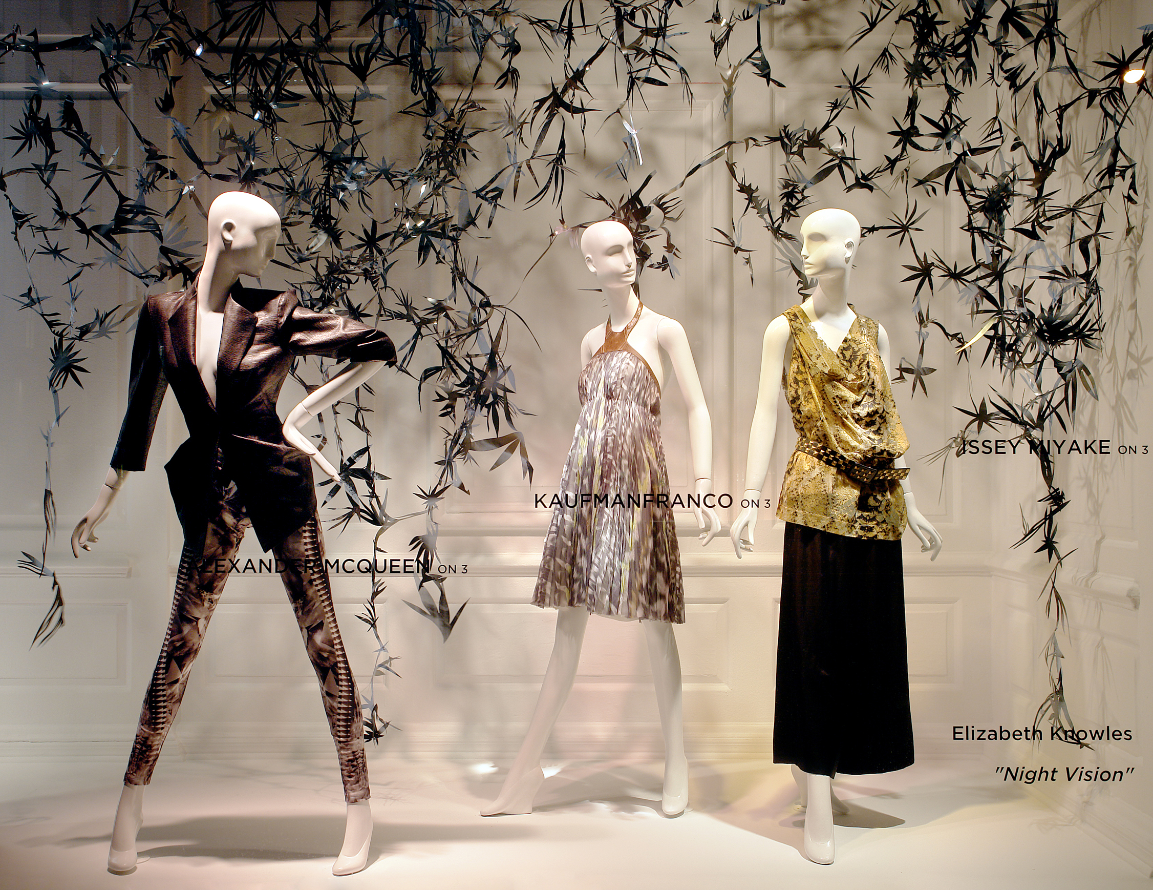 Saks Fifth Avenue - I created art installations in the windows for Saks' Fifth Avenue flagship store—featuring the work of designers Donna Karan, Alexander McQueen, Moschino and Issey Miyake.