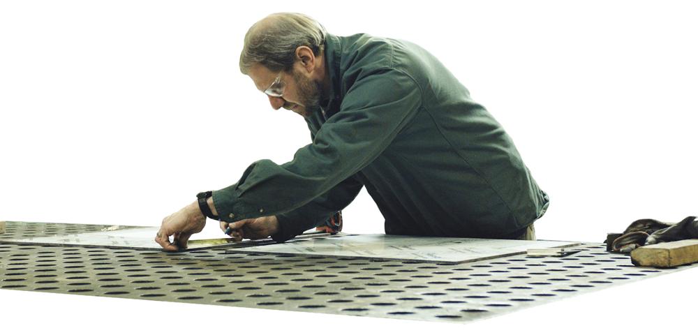 metal worker measuring template