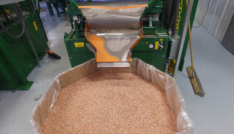 Recovered copper granules from SRP's separation system designed and built by Sweed.