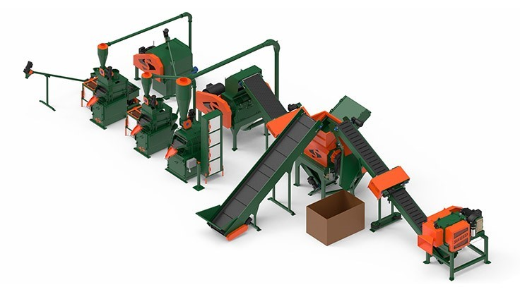 Encore Wire's Sweed Machinery system has been designed to process from 3,000 to 6,000 pounds per hour of wire and cable. The four-output system is designed to separate steel, aluminum, copper and plastic.