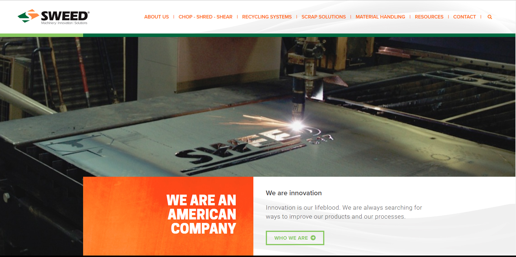 The home page of Sweed's new website.