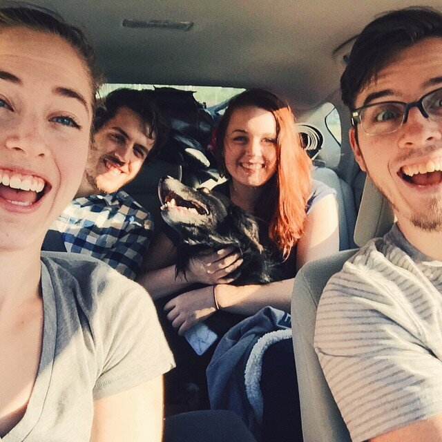 Sara, Robert, Luke, Laura and Gilmour on a road trip to Watkins Glen, NY in 2015