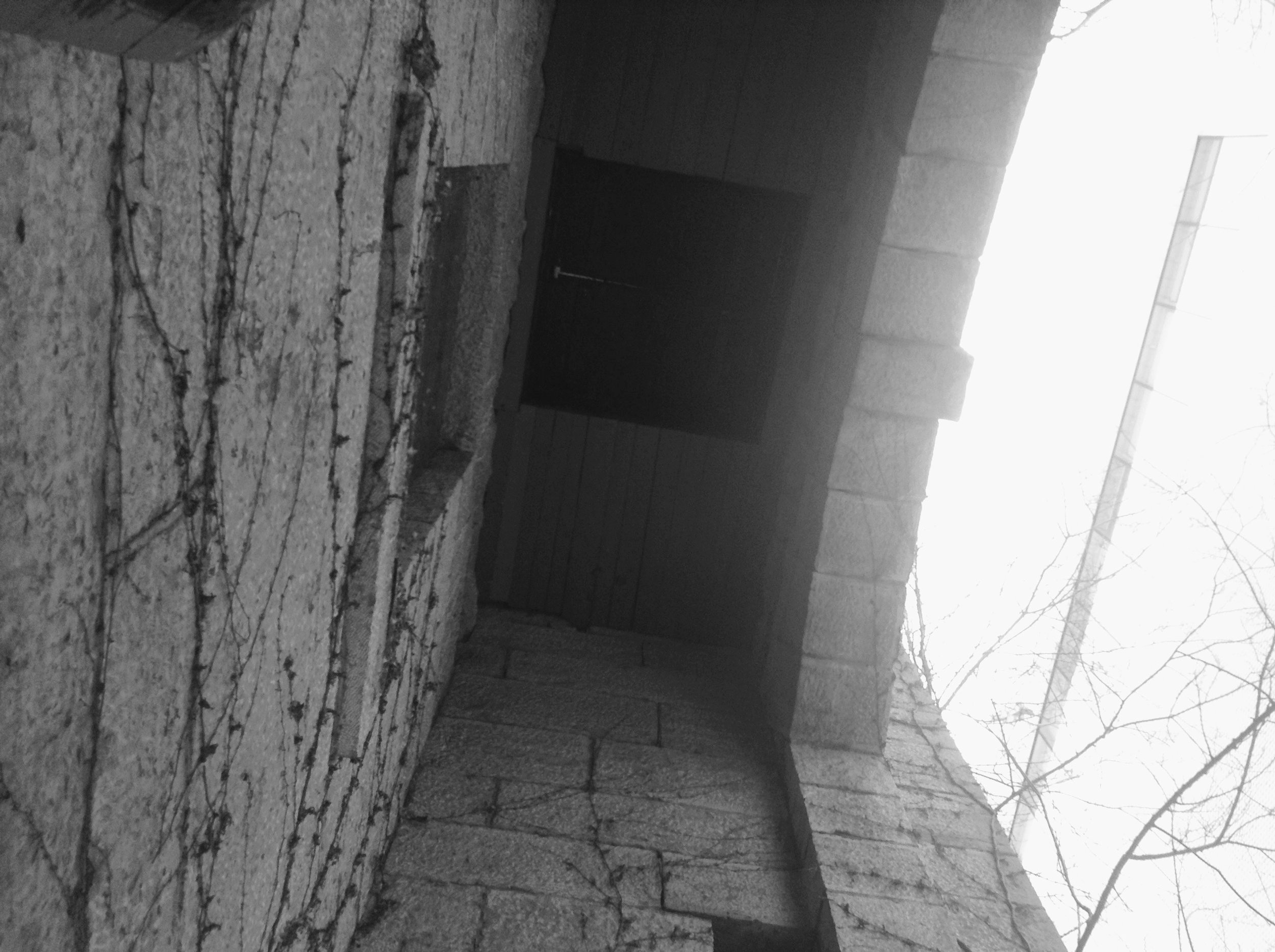 Looking up at the Gallows trapdoor.