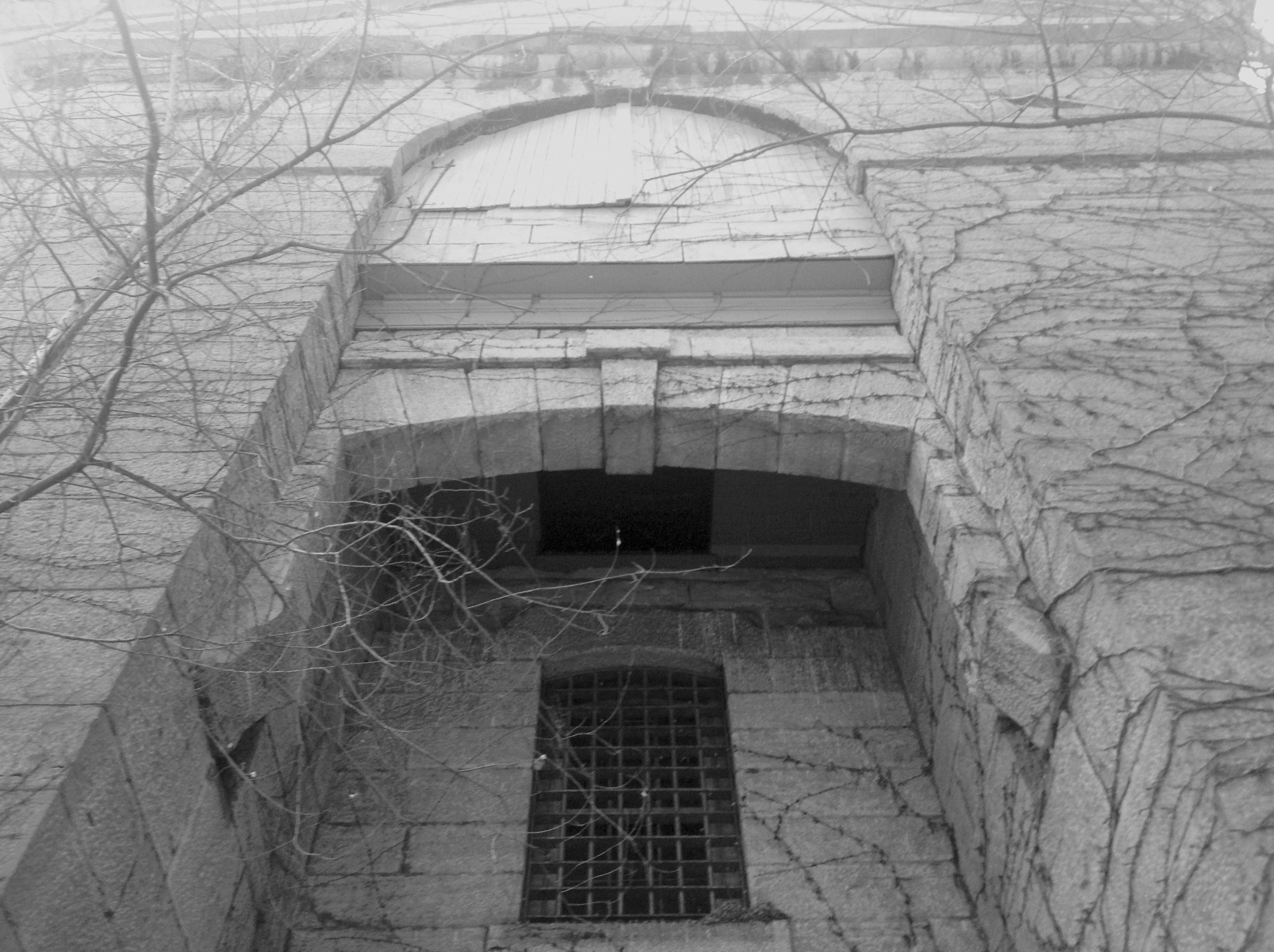 Looking up at the Gallows from the courtyard.