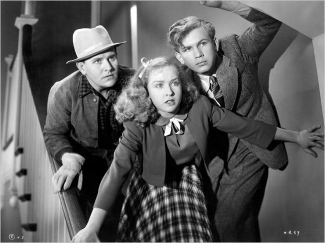 "Bonita Granville with Larry Williams, left, and Frankie Thomas in the 1939 film ""Nancy Drew, Reporter."""
