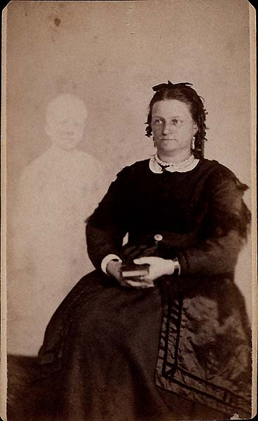 Unknown woman with a spectral child, taken by Mumler. Photo courtesy of Wikimedia Commons.