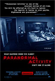 Movie poster for  Paranormal Activity , retrieved from the IMDb page.