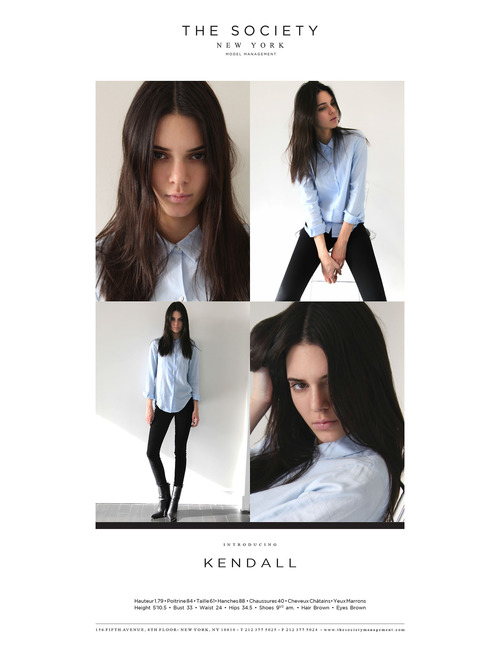 Kendall Jenner's modeling composite card with The Society.