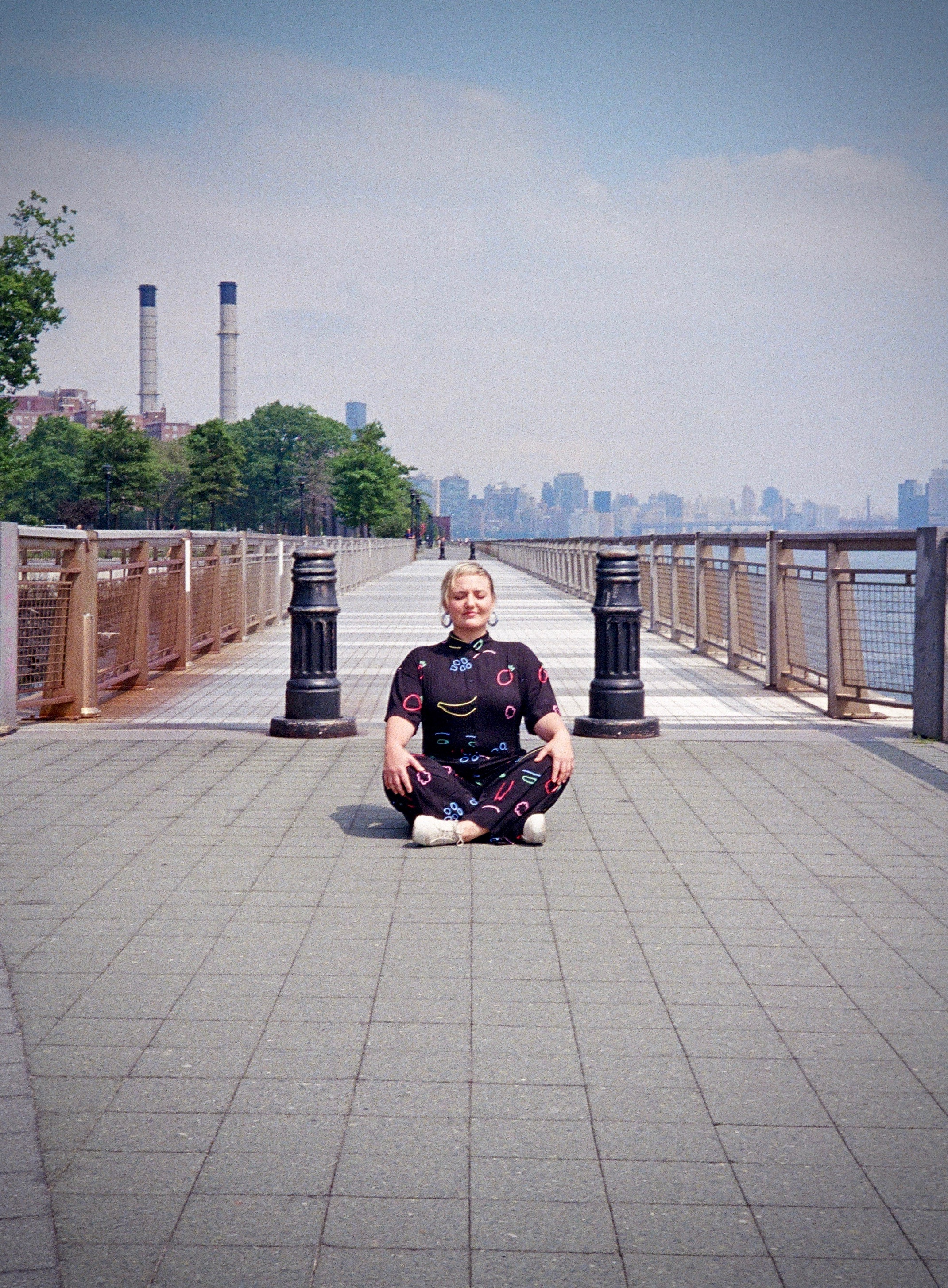 Natalia meditating on her next project in the East River Park, Lower Manhattan.
