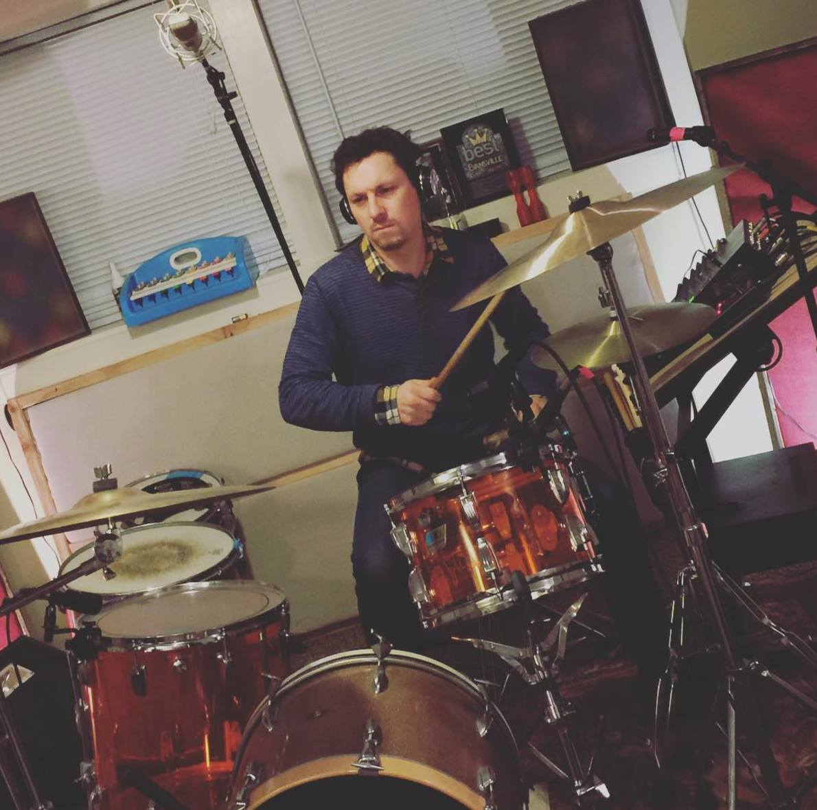 """11.22.2015 Here's a pic of Zach practicing the drums we were recording that day. Probably """"Everyone Will Leave and You"""""""