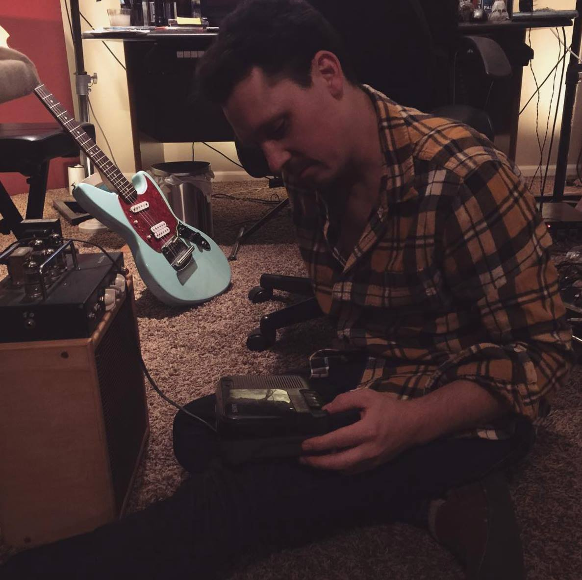07.28.2016 Zach holds his childhood cassette player as we push comeuppance demo from phone to pickups to amp and onto an old cassette.