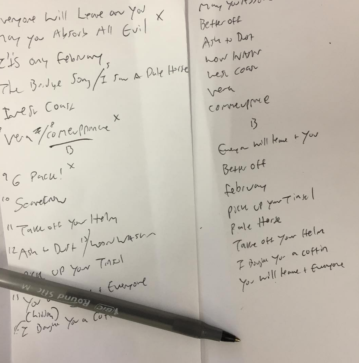 4.27.2017 i stood in a gas station & rewrote the track listings toward a more final LP order