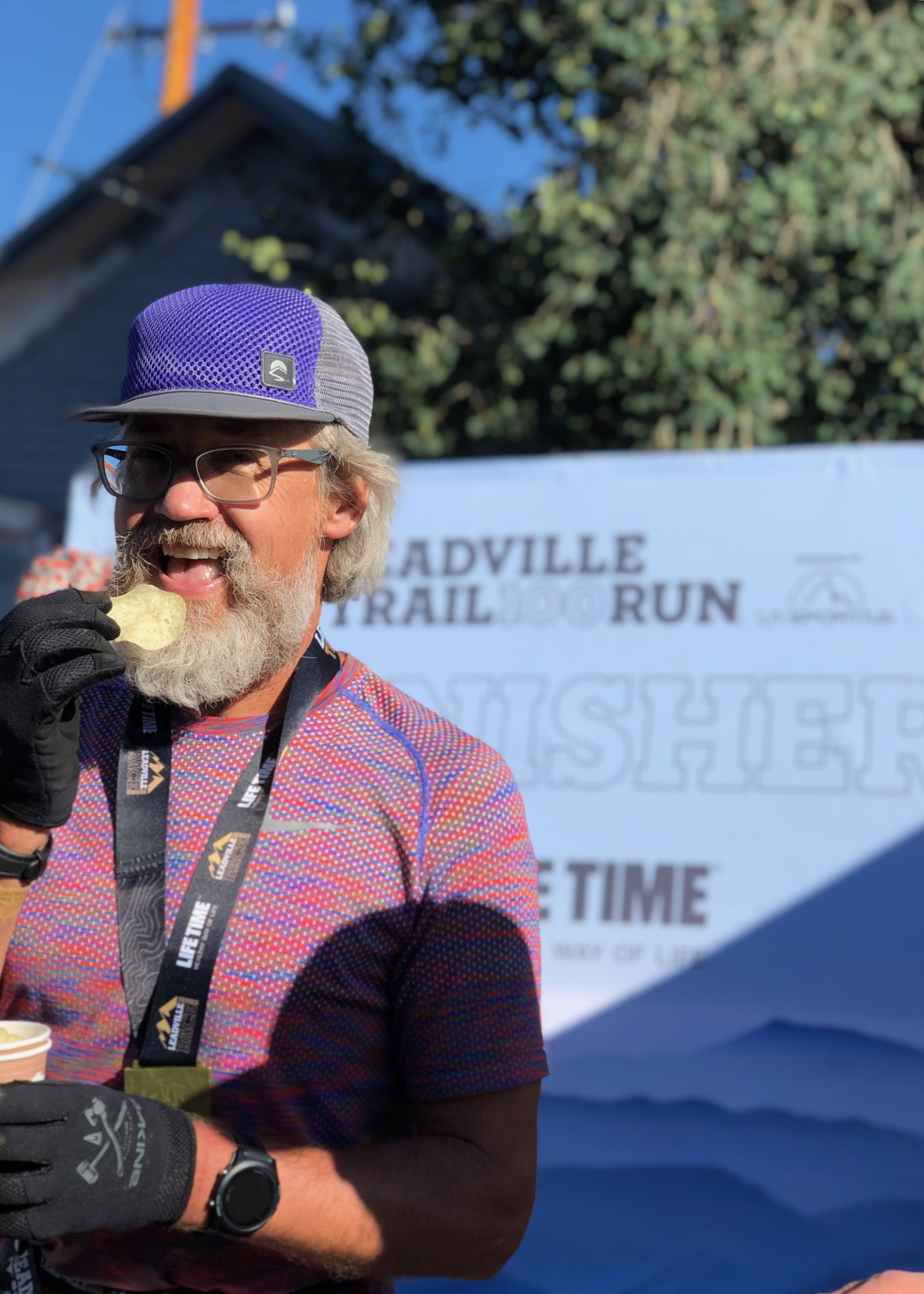 A well-deserved potato chip at the finish line