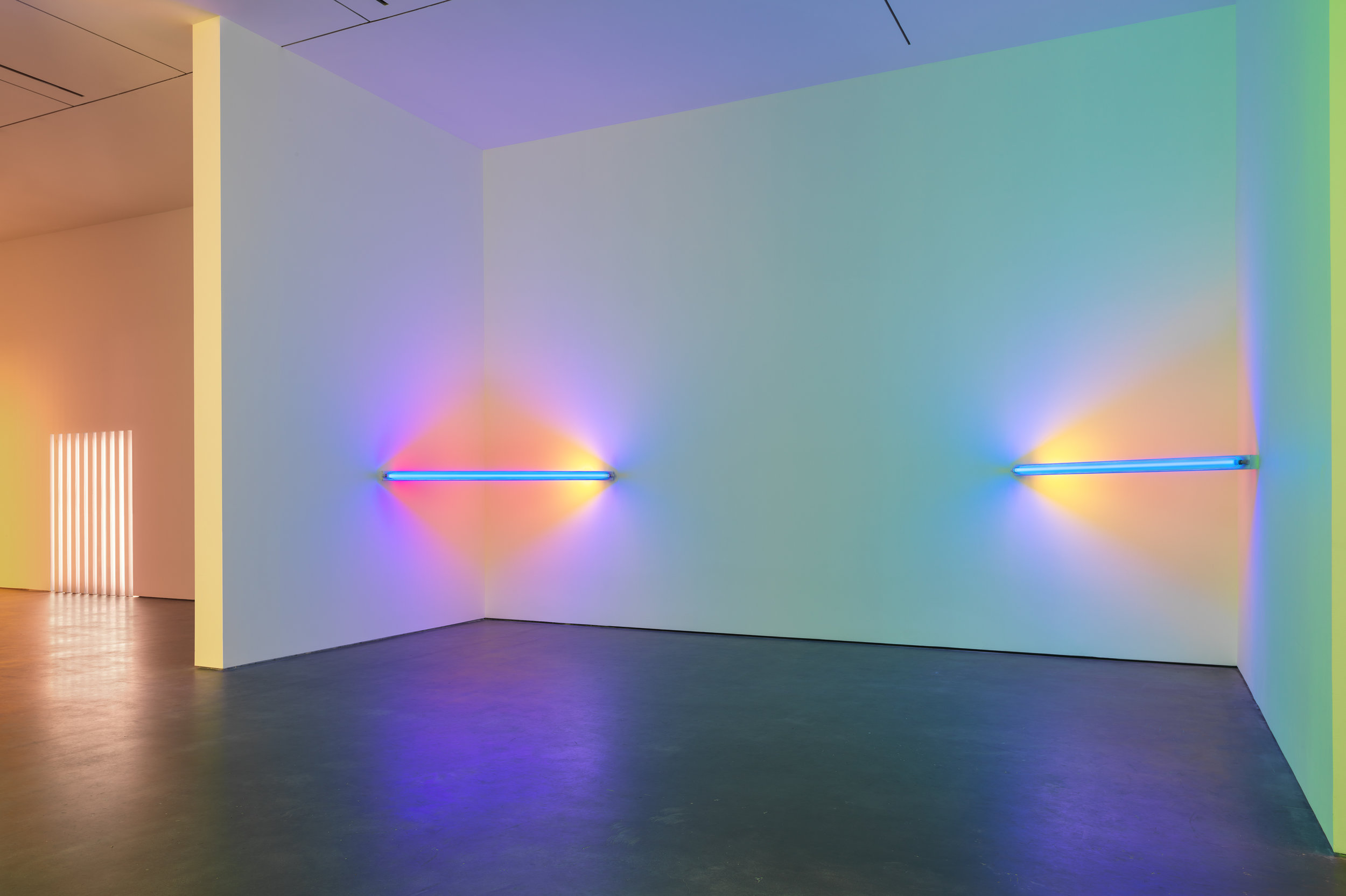 Dan Flavin 1971. - Untitled (to Janie Lee) Blue, pink, yellow and green fluorescent light  Photo:  flos.com
