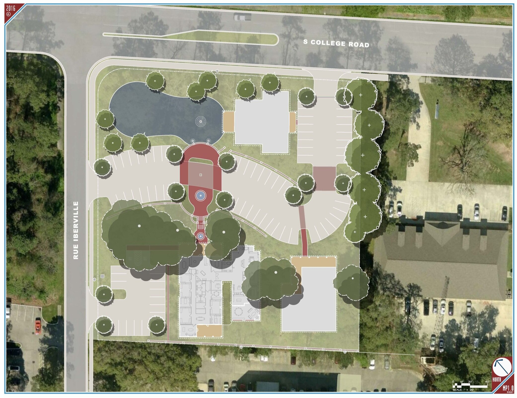 This is the current master plan for the Iberville Grove project site, prepared by LAND Architecture. This project is currently under construction by Manuel Commercial and will house the new home office and design studio of our sister company, Manuel Builders.