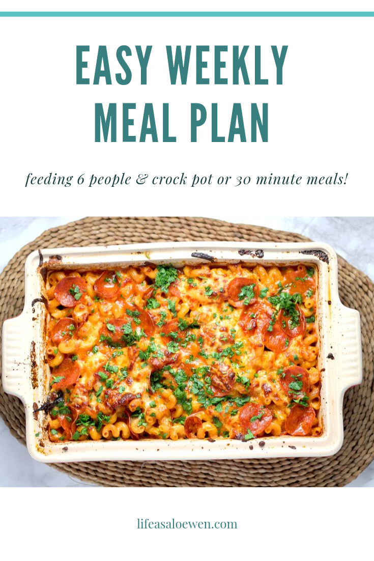 Quick and Easy Weekly Meal Plan for a family. All planned out so you don't have to! @lifeasaloewen