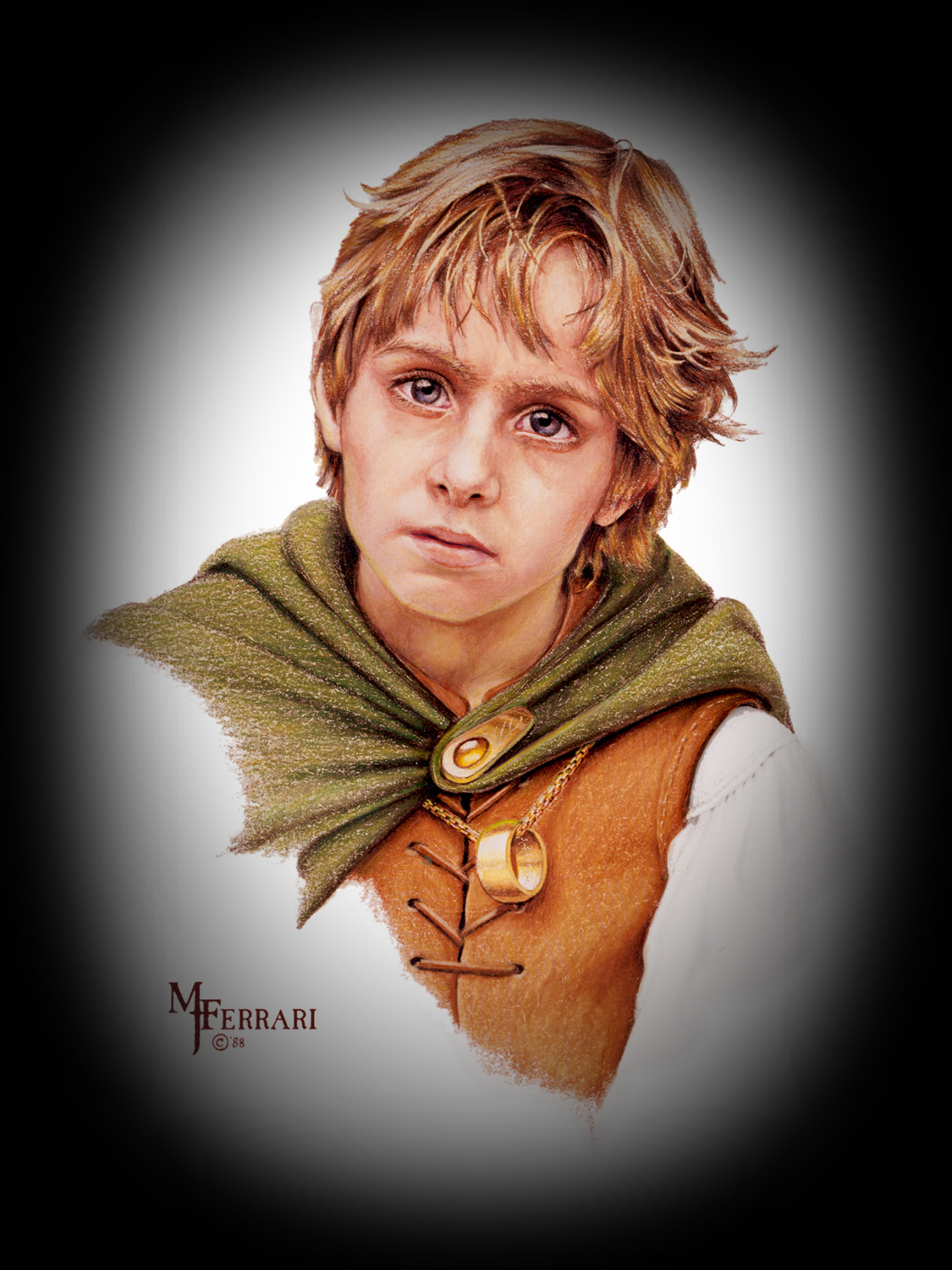 Frodo - A private commission in Prismascolor pencil from 1988