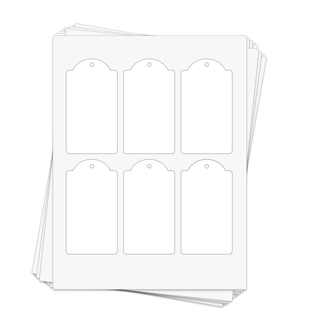 Dome Rectangle Perforated Hang Tags   2.375 x 4.25 in.