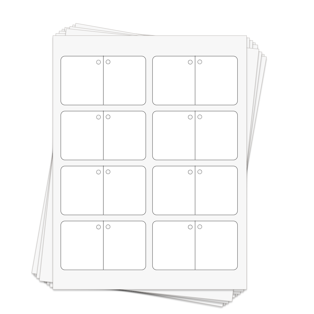 Folding Perforated Hang Tags   3.5 x 2 in.