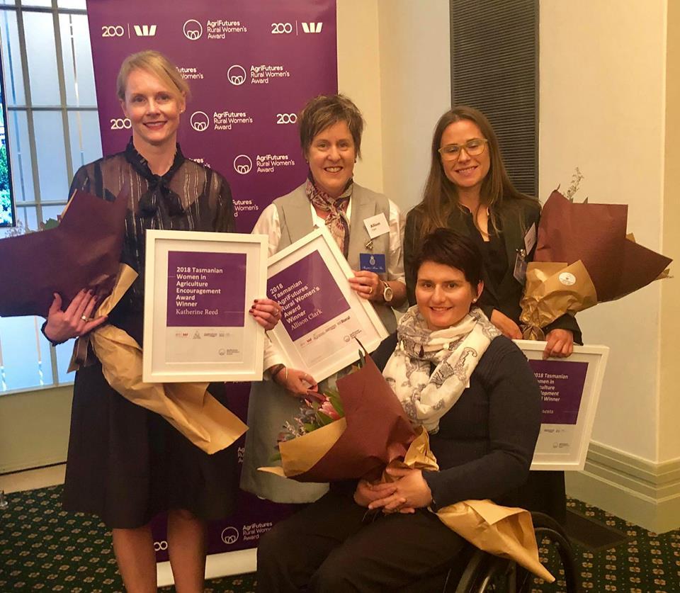 2018 AgriFutures Rural Women's Award Recipients. Left to right: Allison Clark