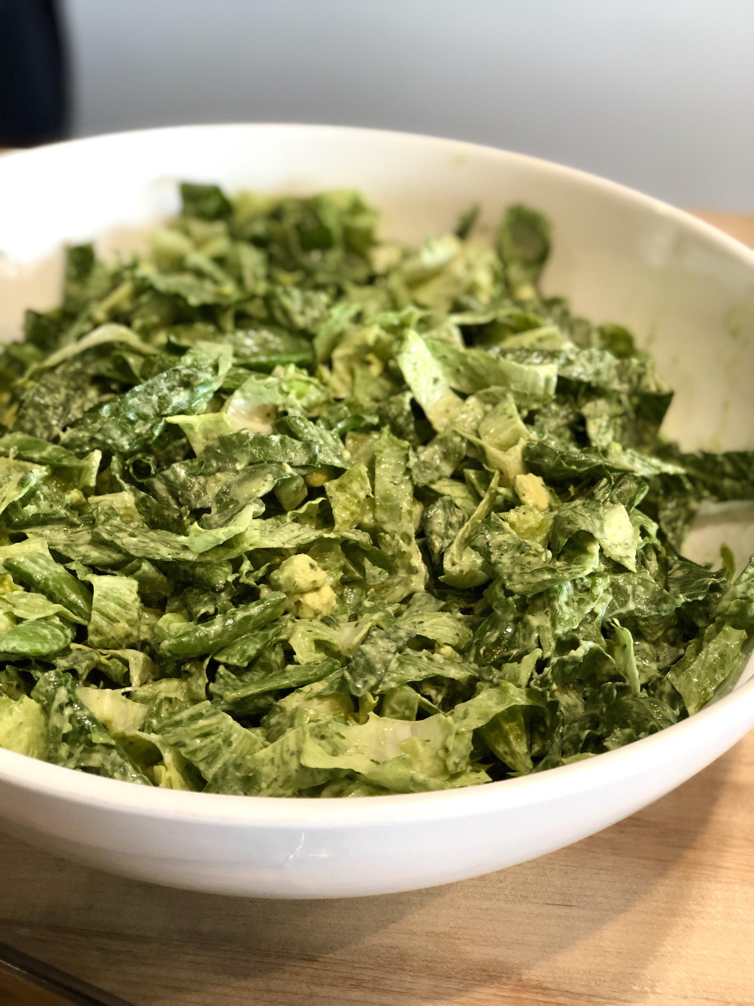 Romaine Salad with Green Goddess Dressing