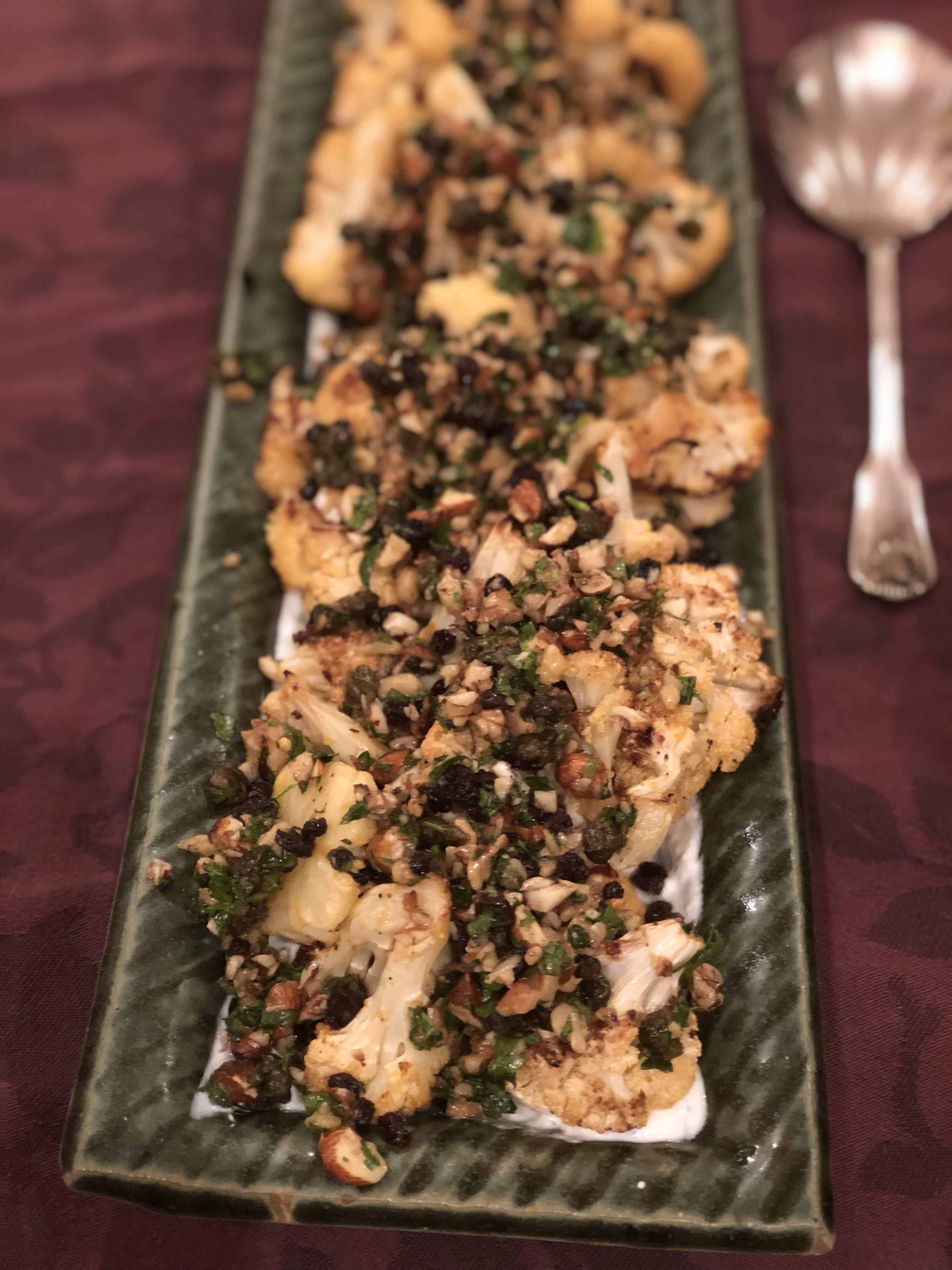 Roasted Cauliflower with Walnut - Currant Salsa
