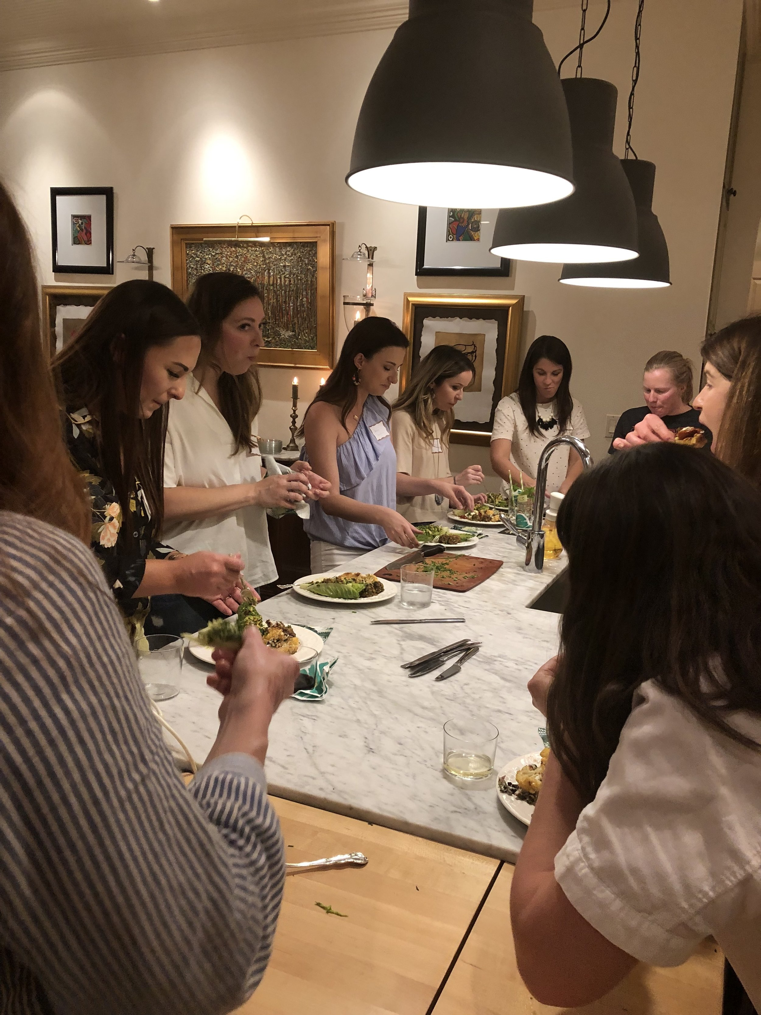 We gather and eat around the kitchen table -