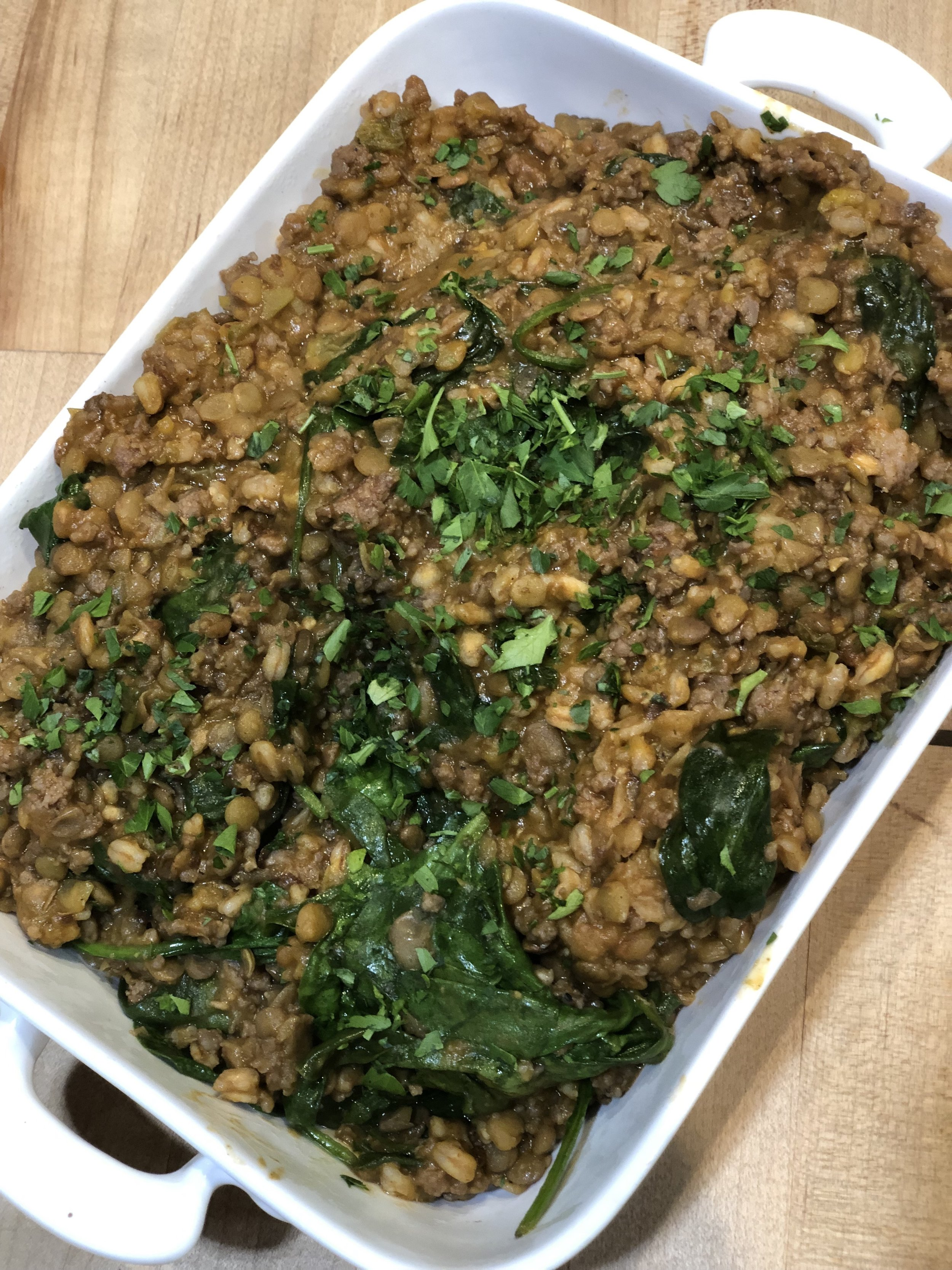 Instant Pot Middle Eastern Lentils and Rice with Leeks and Spinach