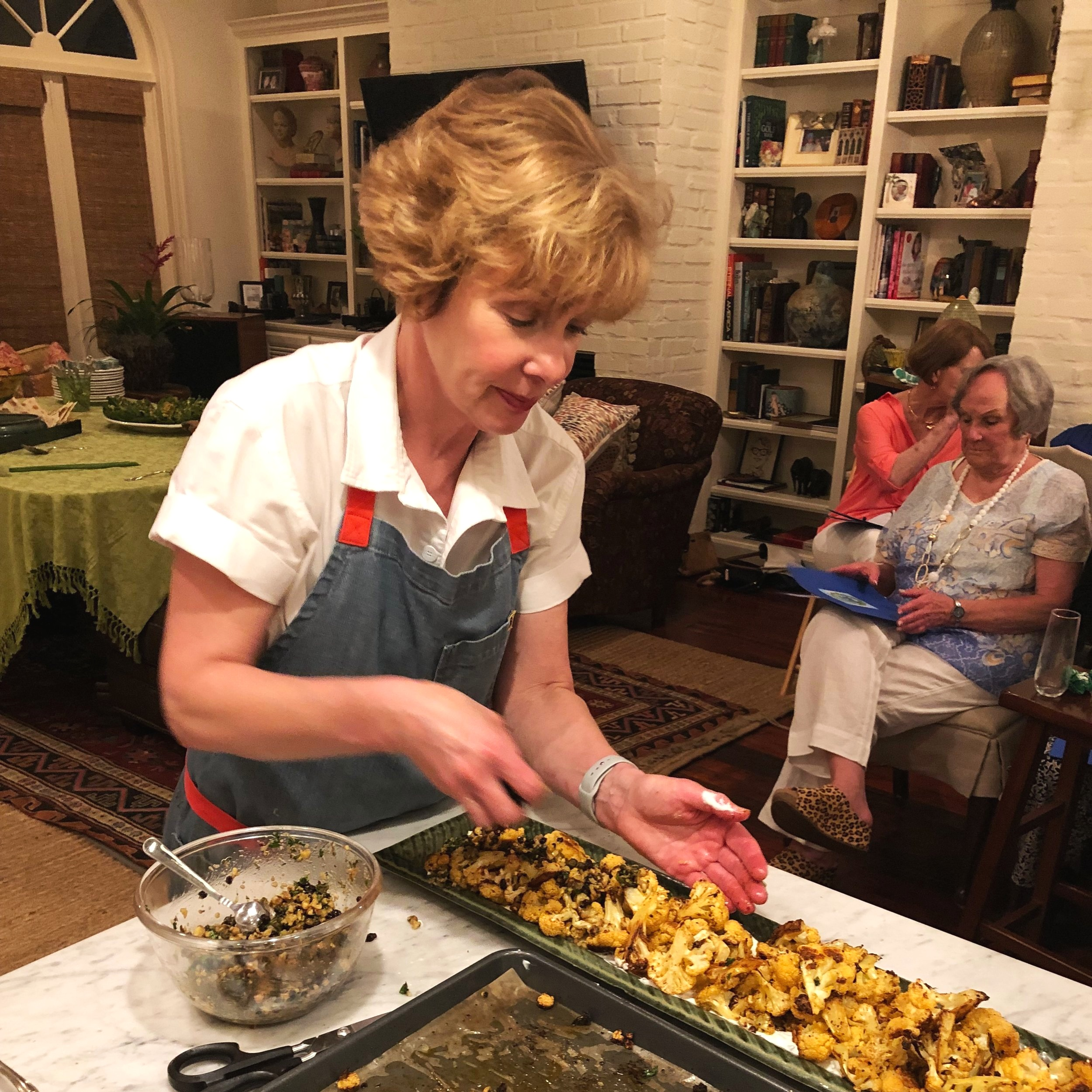 Constructing our Roasted Cauliflower with Walnut-Caper Salsa