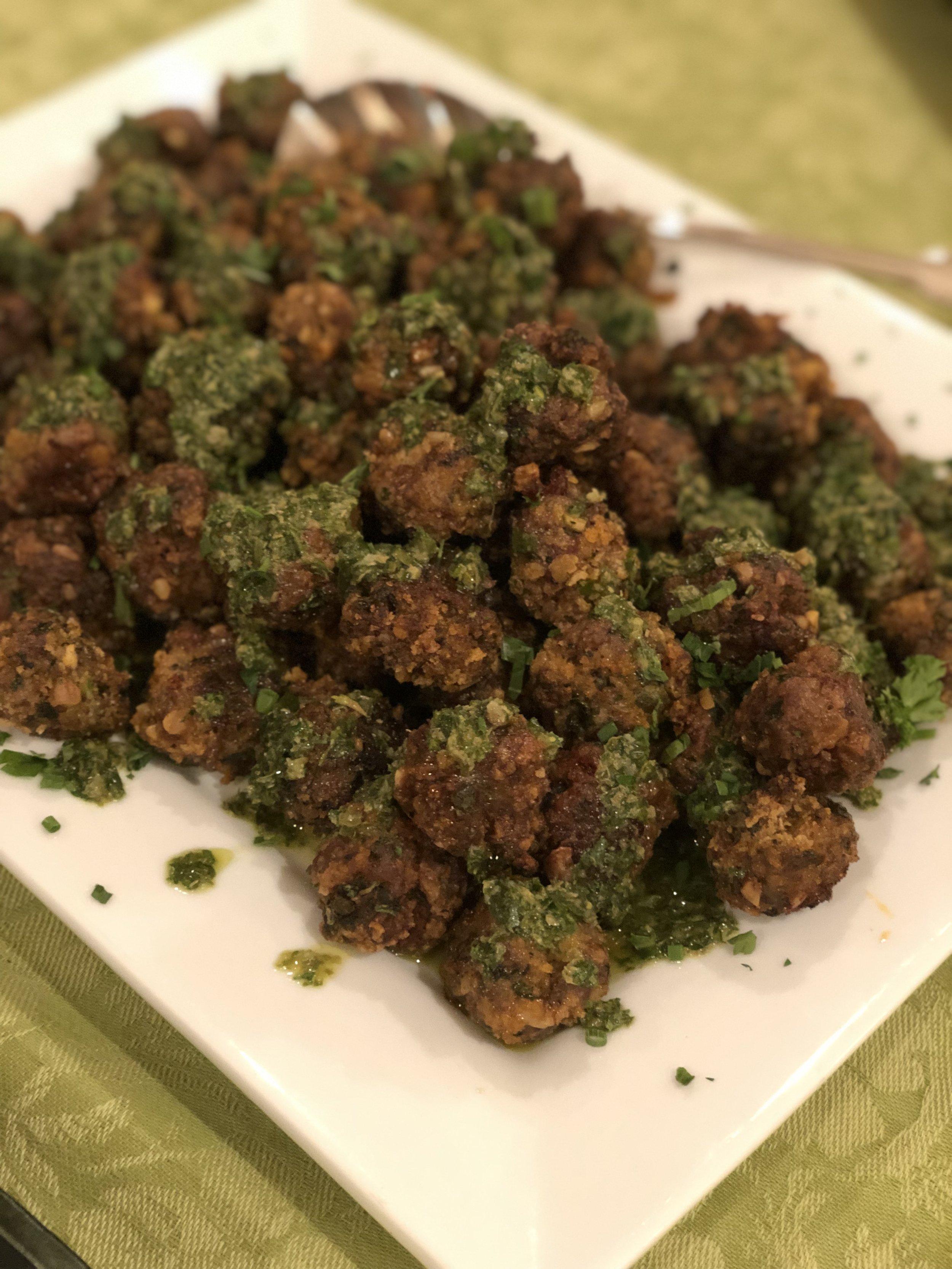 Crispy Sheet Pan Meatballs with Salsa Verde