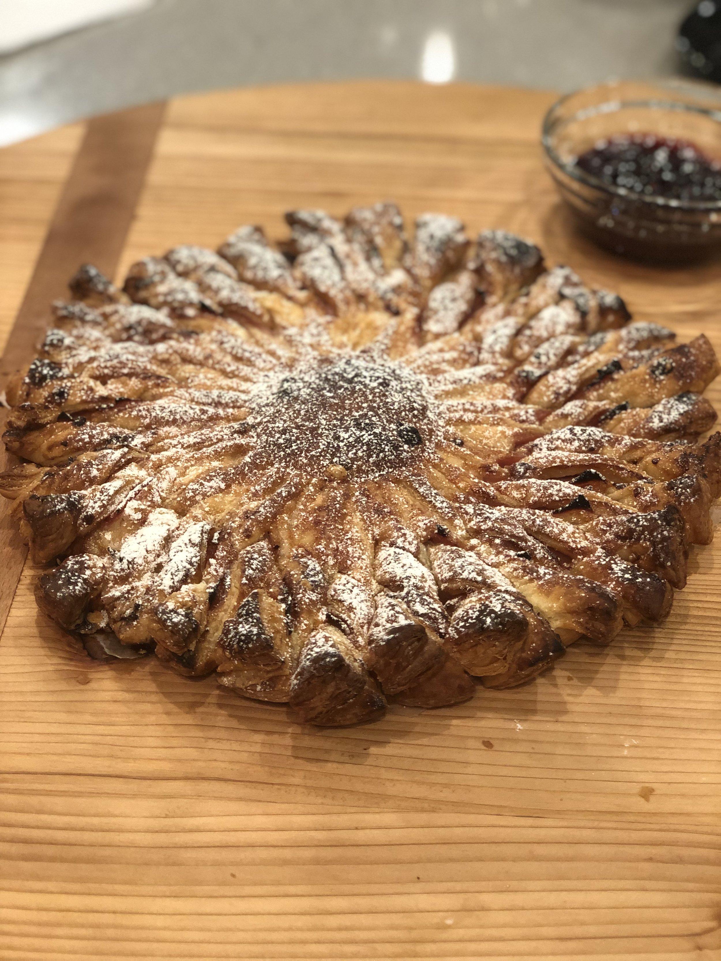 A beautiful baked Monte Cristo Sun Tart