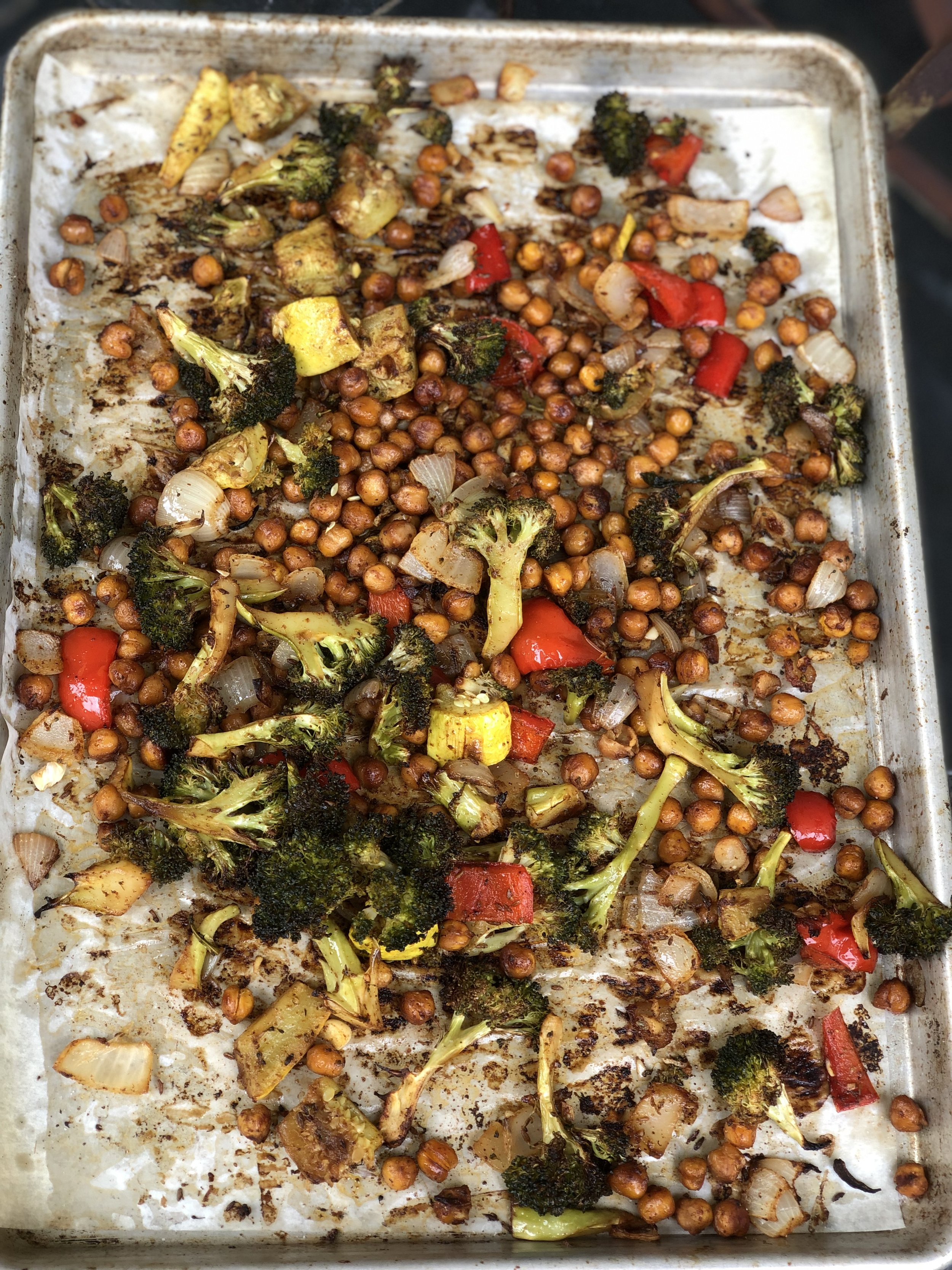 Roasted chickpea & broccoli filling for burrito