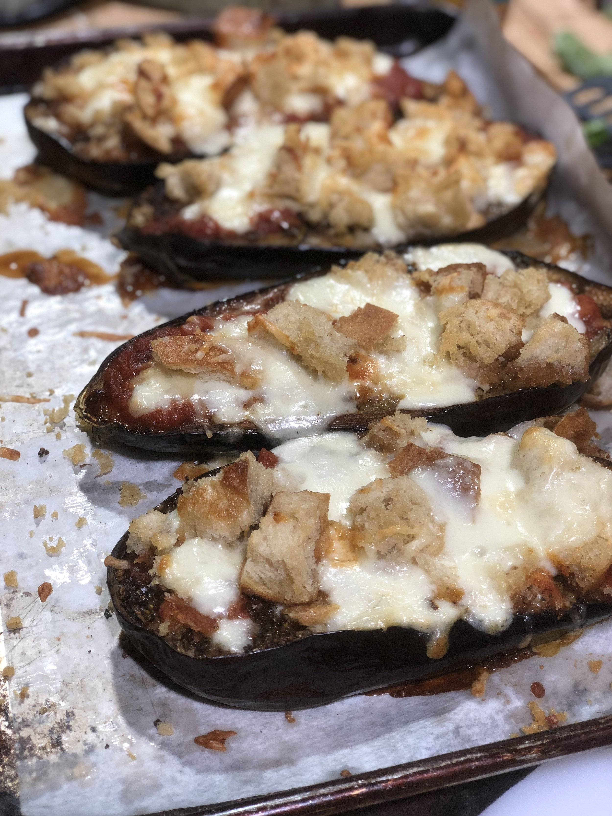 Crunchy croutons and melted cheese on our unfussy eggplant Parmesan
