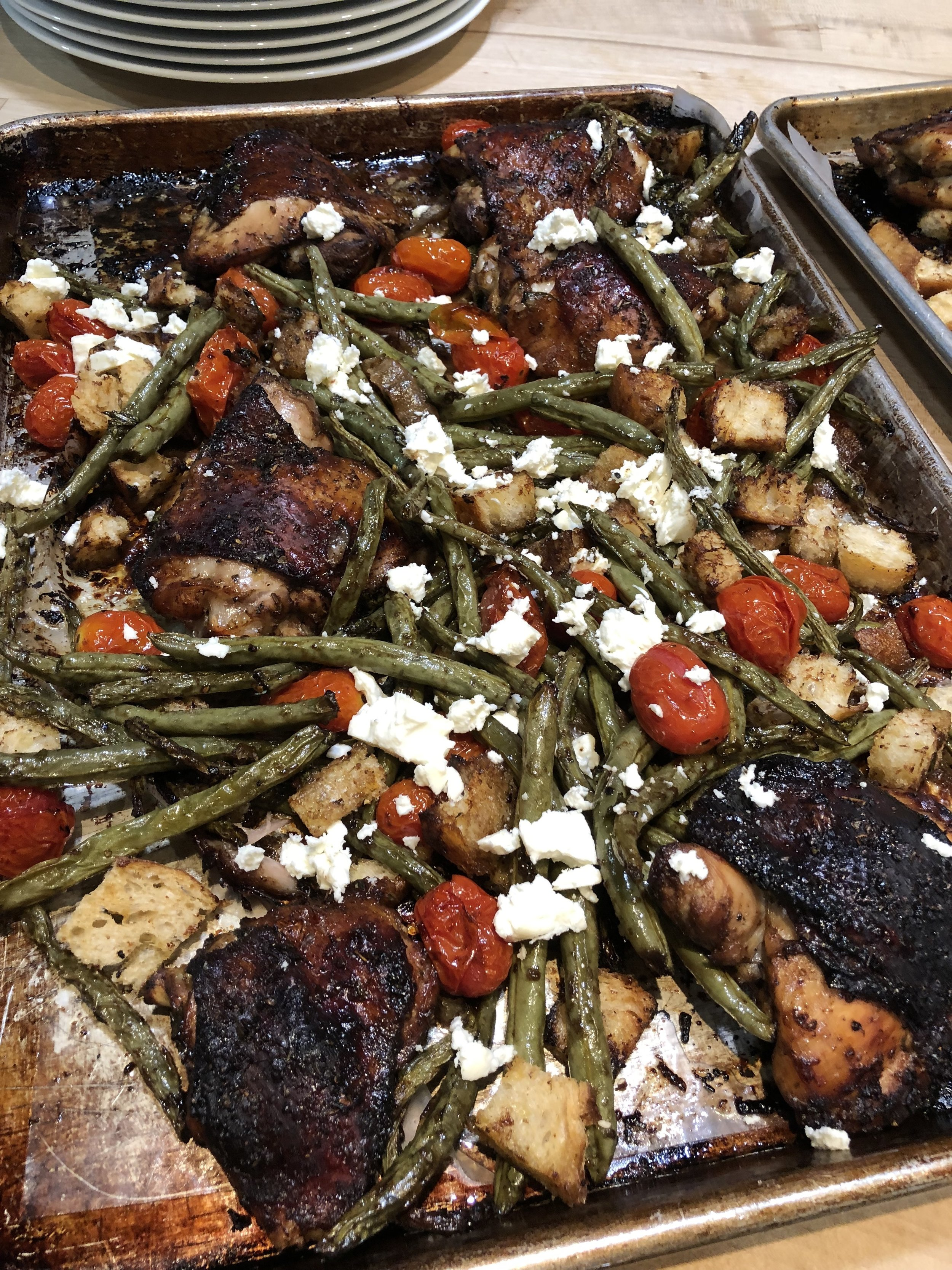 Feta- Brined Chicken with Roasted Green Beans and Tomatoes