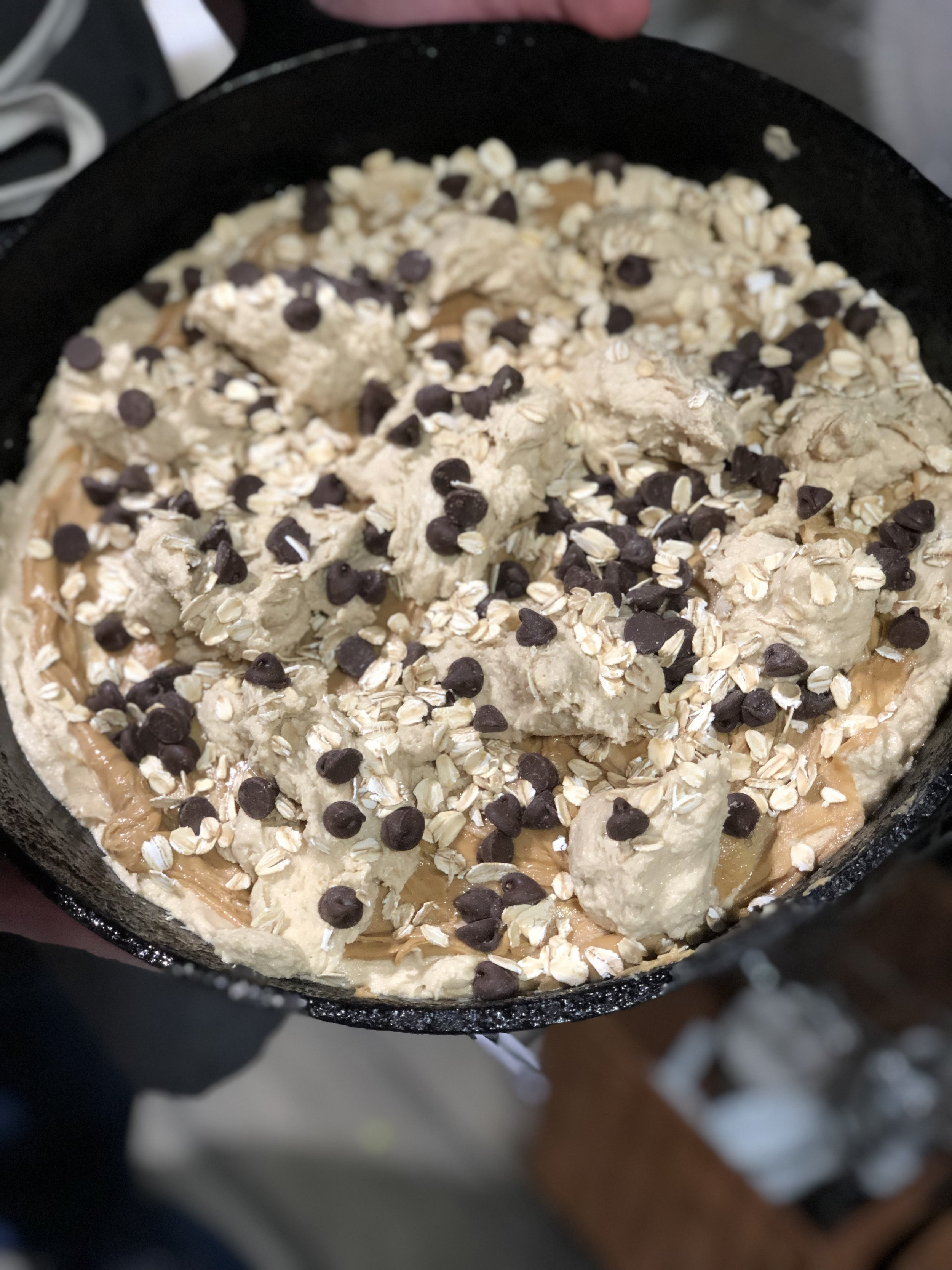 Easy Skillet Cookie going into the oven