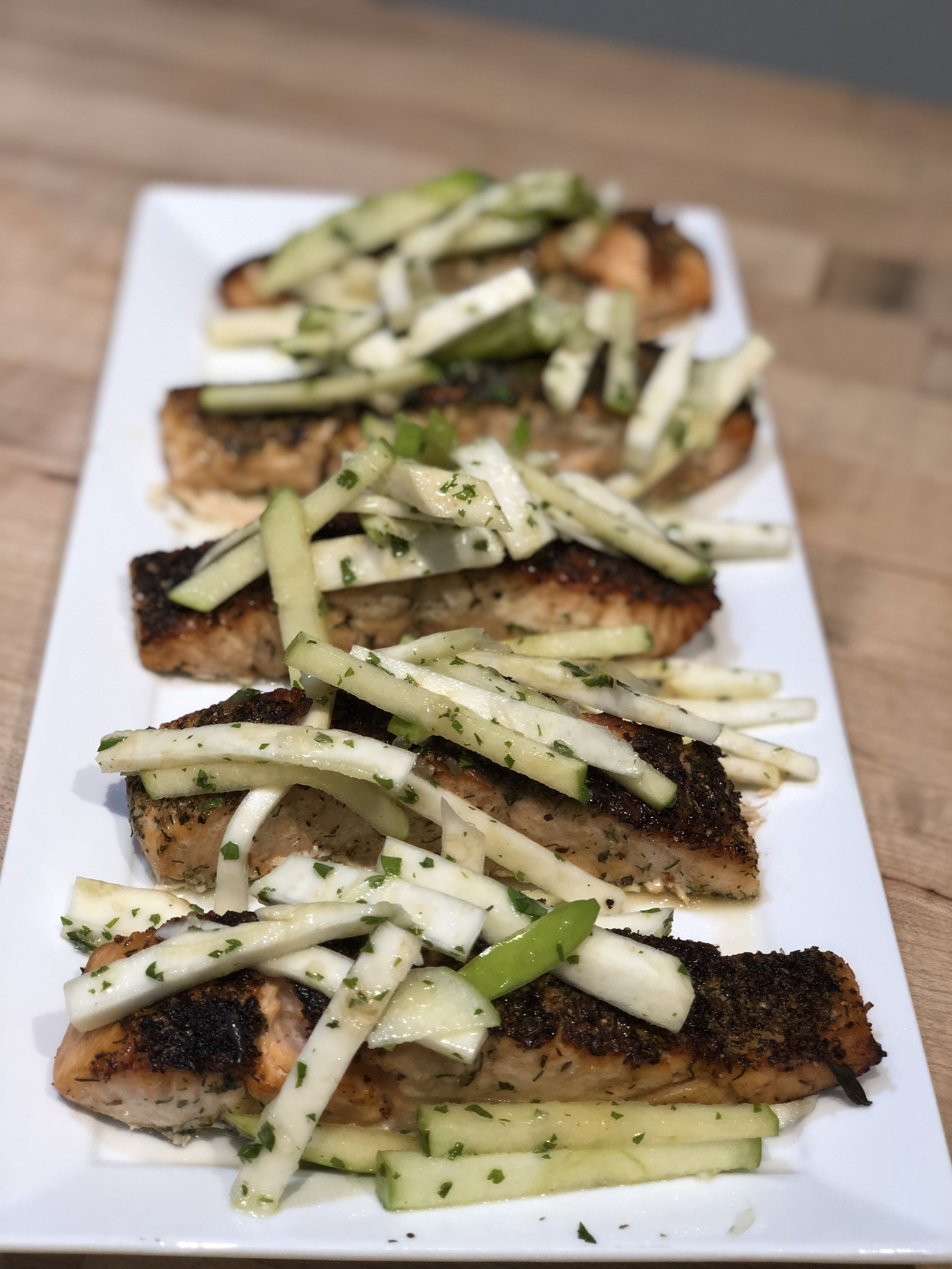 Seared Salmon with Celery Root and Apple Slaw