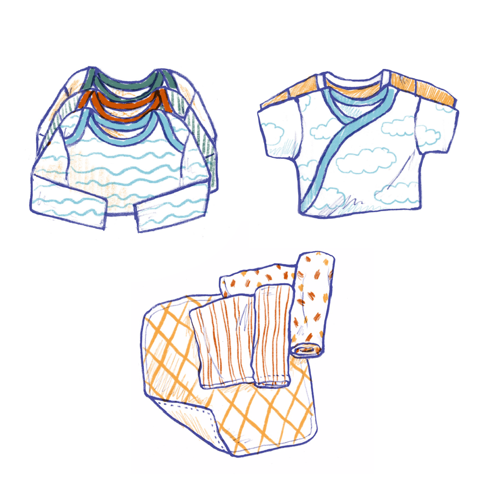 3 Swaddle Blankets 5 Short-sleeve Onesies 4 Long-sleeve Onesies