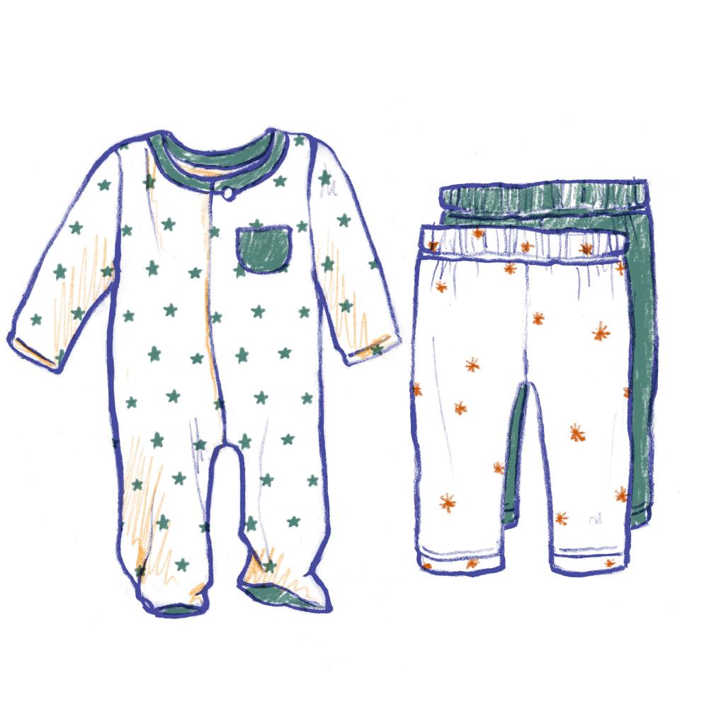 2 Footie Pajamas 2 Leggings