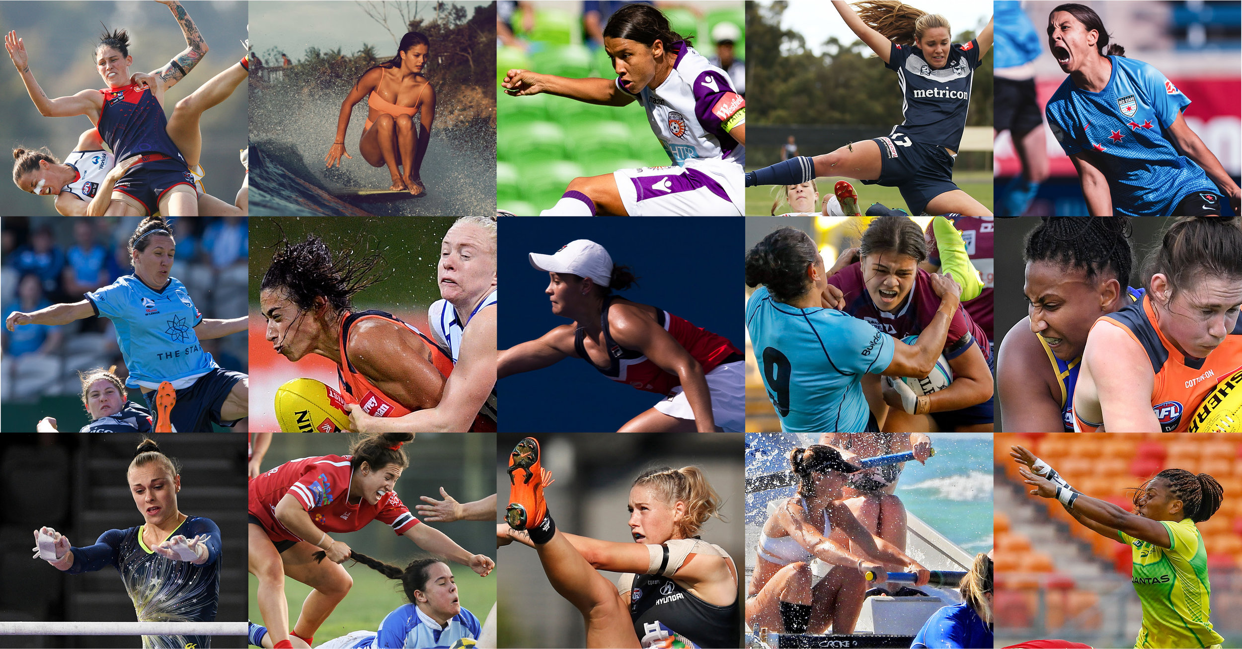 Top row left to right:  Daniel Pockett Vic AFLW; Richard Morgan NSW surfing; Luke Hemer Vic soccer; Scott Barbour Vic soccer; Rachel Bach Vic soccer.  Second row left to right:  Craig Golding NSW soccer; Dan Himbrechts NSW AFLW; Craig Golding NSW tennis; Karen Watson NSW rugby; Dan Peled Qld AFLW.  Third row  left to right: Mark Avellino Vic gymnastics; Marina Neil NSW rugby; Michael Willson Vic AFLW; Andrew Berry Vic surf lifesaving; Karen Watson NSW rugby.