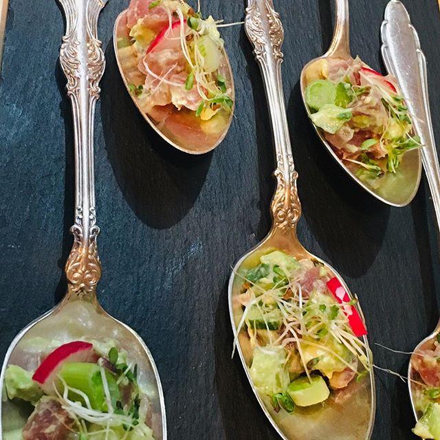 When a spoonful is simply enough  tuna tartare + wasabi-herb mayo + garlic cress