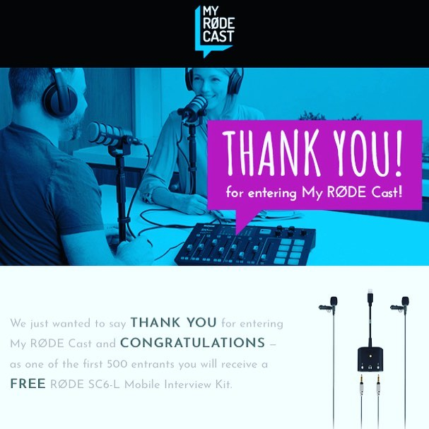 And we're mobile!!!!Just won my first bit of kitty. A mobile kit for podcasts anywhere I go!! Thanks @rodemic #podcastlife #comps #giveaways #gottabeintowin