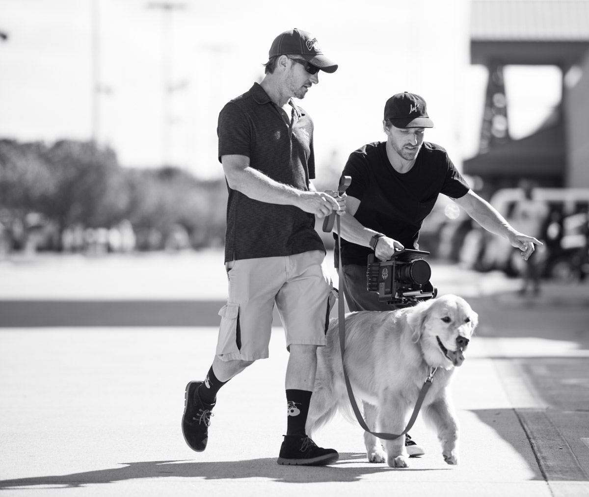 Dean Miller on set during production of a Petco commercial.