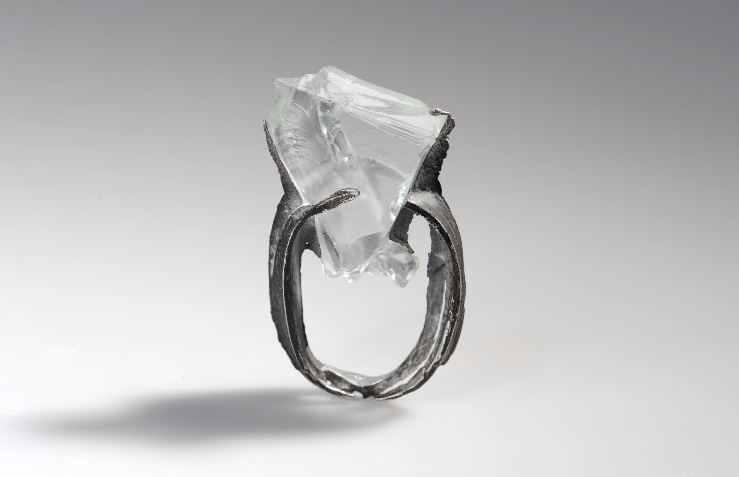 silver ring with glass by Nora Werner